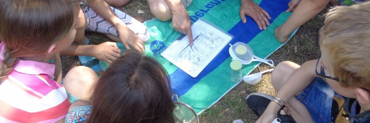 Eine Gruppe von Kinder sitzt in einem Kreis und lässt sich einen Plan erklären ©Stadt Laatzen