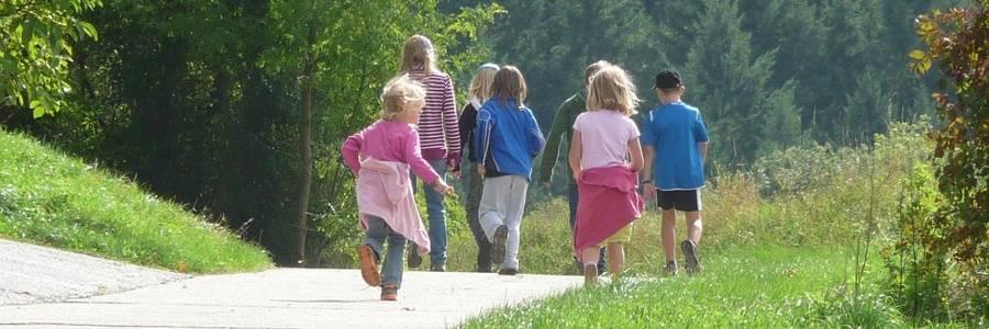 Kinder von hinten auf einem Wanderweg