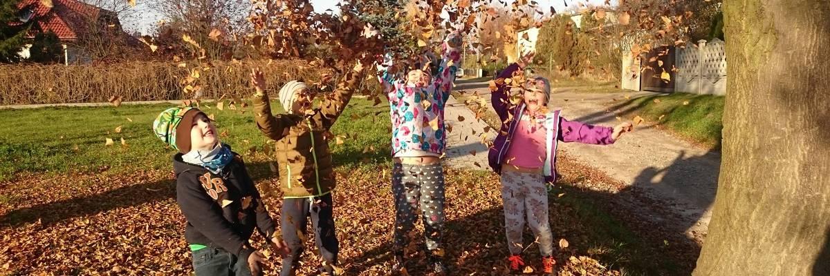 Vier Kinder werfen Laub in die Luft und lachen ©Pixabay