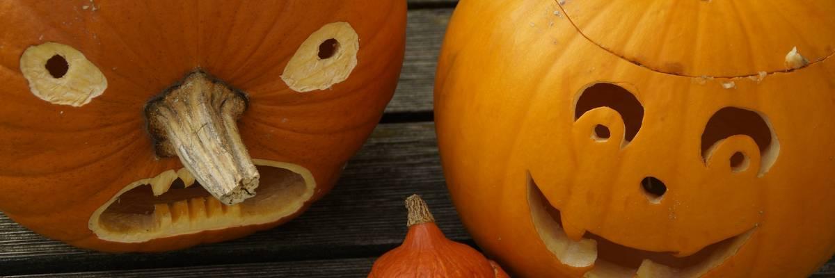 Drei geschnitzte Halloween Kürbisse ©Pixabay